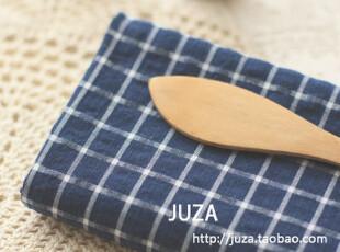 外贸纯棉布料  蓝色格子 窗帘床品衣料 50*150cm,窗帘,
