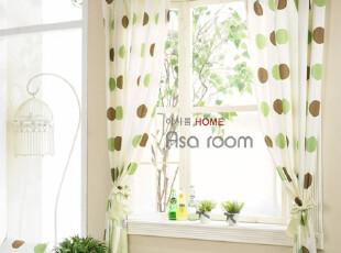 【Asa room】韩国窗帘进口布艺半遮光绿色圆点成品短款窗帘k331-g,窗帘,