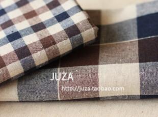 韩国仿麻布料 色织质朴格子 手工窗帘布料 (50*140),窗帘,