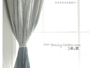 【3米家】蓝调格纹窗帘 半帘定制韩式地中海风格美式窗帘定做,窗帘,