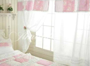 『韩国进口家居』R185 公主房粉色横条装饰漂亮窗帘,窗帘,