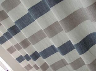 北欧地中海风格 高档色织亚麻客厅卧室蓝色条纹窗帘布艺 新品特价,窗帘,