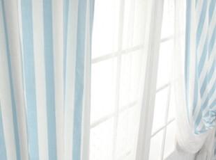 韩国进口-地中海风格 田园气息的蓝色条纹窗帘 可定做,窗帘,
