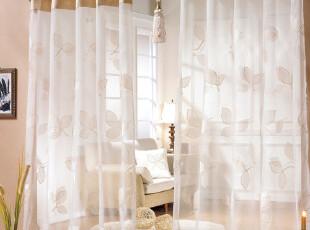 【KOREA HOUSE】 韩国涤麻混纺叶子绣花高档窗纱窗帘/RM1203-017,窗帘,