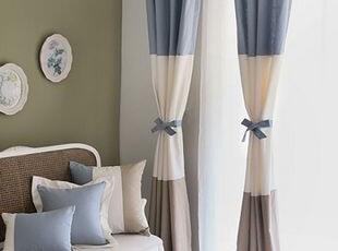 韩国进口代购 清新蓝色混搭窗帘/客厅窗帘 卧室窗帘 可定做,窗帘,