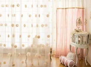 韩国官网代购 优雅浪漫立体玫瑰朵朵窗帘/窗纱 纱帘 米黄色,窗帘,