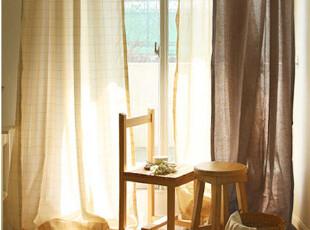 侯雪布艺纯麻豆沙色现代简约日式森林系质朴风窗帘,窗帘,