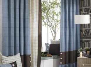 【越帛】2011新款北欧宜家简约风格格子窗帘客厅阳台书房成品定做,窗帘,