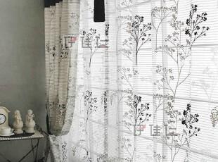 伊佳仁 最新工艺怀旧环保窗纱窗帘  韩式田园印花窗帘成品 S166,窗帘,