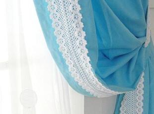 『韩国定做窗帘』mc1605 DN系列 经典宽边蕾丝蓝色落地窗帘,窗帘,