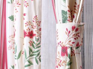 高档环保外贸窗帘布/红绿花纹乡村风格/窗帘布艺定制,窗帘,