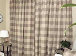 【山之屋】北欧宜家现代纯棉咖格子遮光窗帘含辅料加工*怀旧咖格,窗帘,