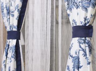 高档环保外贸窗帘布/蓝色古典花纹地中海风格/窗帘布艺定制,窗帘,