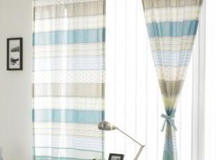 韩国进口-田园风格的条纹图案时尚穿杆窗帘,窗帘,