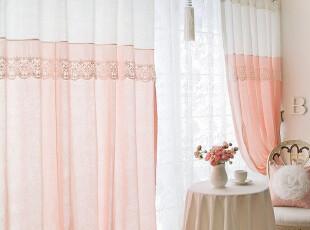 『韩国定做窗帘』R383 漂亮蕾丝边粉白拼色公主窗帘,窗帘,