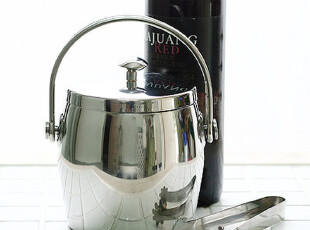 『韩国进口家居』mc1416 精致现代感双层金属不锈钢冰桶 带沥水格,红酒专用,