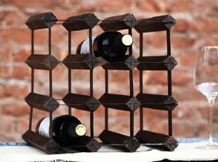 日式 九孔 组装 红酒架,实木红酒架 简易酒架 出口原单,红酒专用,