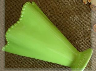 外贸陶瓷手绘彩绘绿色水玉敞口高脚杯 高脚碗 冰淇淋杯 花器 花插,红酒专用,