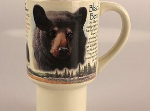 【彩虹家居】动物马克杯 黑熊高脚杯子 创意水杯茶杯江浙沪包邮,红酒专用,