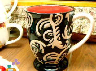 【瑕疵特卖】外贸陶瓷欧式经典复古刻花陶瓷高脚杯/咖啡杯,红酒专用,