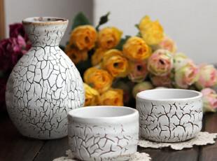 日本进口创意陶瓷白色开片清酒具酒杯酒壶酒罐子酒器套装红酒杯,红酒专用,