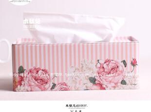 【纸巾盒】加大款 典雅粉色蔷薇 马口铁皮抽纸盒餐巾纸盒-木驮儿,纸巾盒,