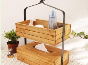 实用做旧木制 纸巾盒 化妆品收纳 床头收纳 杂物收纳 桌面收纳,纸巾盒,
