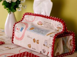 红色布艺结婚圣诞新年可爱创意纯棉麻布车用家用收纳纸巾盒纸巾套,纸巾盒,