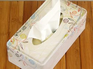 [纸巾盒]淡色花图 长方形纸巾盒/纸巾抽/铁皮盒,纸巾盒,