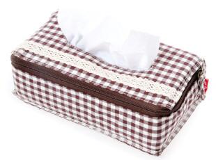 7.21草莓半塘 宅美 日式布艺 简约格子拼接蕾丝纸巾盒套4527,纸巾盒,