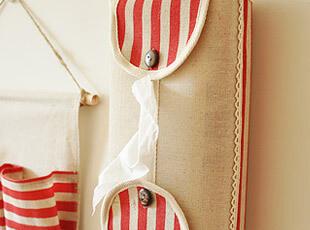 zakka杂货 红色条纹 棉麻纸巾盒 田园复古风格 车用,纸巾盒,