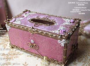 奢华欧式 粉色长方纸巾盒/抽纸盒 纯手工结婚礼物礼品,纸巾盒,
