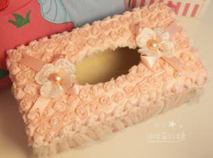 咖啡因的糖*日单可爱蕾丝布艺 欧式 毛绒 纸巾套 木质纸巾盒,纸巾盒,