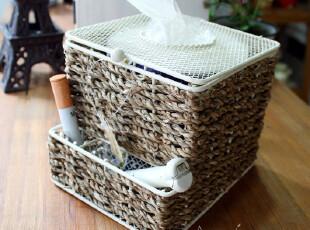日本原单 草编纸巾盒 白色铁网 有盖 纸巾筒 收纳 zakka{缺货中},纸巾盒,
