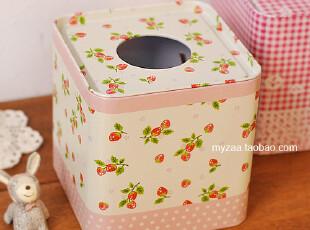 zaa杂啊 小清新pastoral可爱田园草莓纸巾抽盒 铁艺装饰抽纸巾盒,纸巾盒,