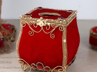 奢华欧式红色方形纸巾盒/抽纸盒 创意家居 纸巾筒 结婚礼物礼品,纸巾盒,