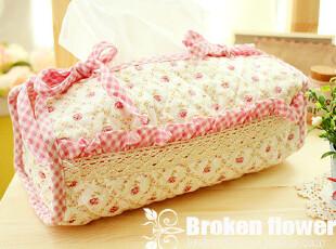 外贸绗缝布艺200抽抽纸盒可爱纸巾抽方形纸巾套纸巾盒纸抽粉白格,纸巾盒,