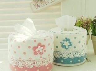 水玉公主系列韩式布艺粉色圆点纯棉圆形纸巾套 纸巾盒套子,纸巾盒,