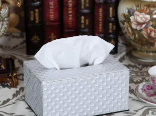 西雅路 珍珠白钻石纹纸巾盒可爱创意欧式车用木皮抽纸盒餐巾纸盒,纸巾盒,