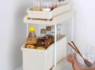 『韩国进口家居』K578 厨房实用双层伸缩式瓶罐收纳架,置物架,