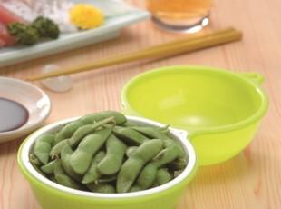 日本进口创意厨房小工具水果盆塑料沥水盆 果蔬沥水篮 可爱毛豆碗,置物架,