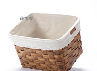 藤也家素色麻布里布藤编洗衣篮 大号把手深色简洁款收纳篮脏衣篮,脏衣篮,