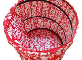 安雅 帆布印花脏衣篮脏衣服收纳筐篮带盖拉链折叠大号衣娄日本,脏衣篮,