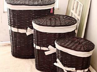 瑕疵处理 收纳良品 蝴蝶结系带 柳编藤编 收纳桶 脏衣篮18181,脏衣篮,