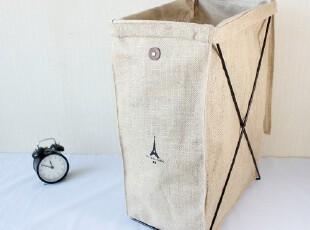 日式zakka亚麻收纳可折叠整理箱收纳桶超大号脏衣桶外贸原单,脏衣篮,