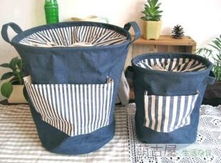 Zakka 棉麻 印度蓝麻收纳桶 脏衣桶 衣服杂物整理袋,脏衣篮,