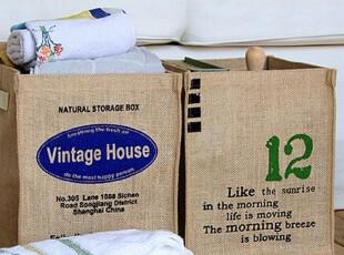 柏文家适 天然环保原麻棉麻布艺麻布收纳桶杂物袋脏衣篓收纳筐,脏衣篮,