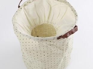 柏文家适 棉麻布艺带盖圆形收纳桶/脏衣篓/杂物筐/玩具桶 45*36cm,脏衣篮,
