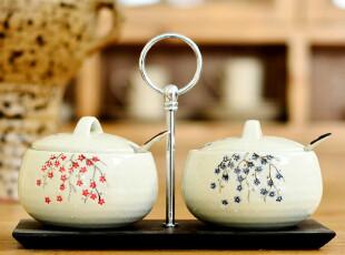 奇居良品 京瓷手绘陶瓷调味罐收纳罐茶叶罐 2个入静雅梅枝,茶具,