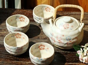 森林系/日式和风/手工粉色樱花物语咖啡壶/抹茶壶5件套茶具,茶具,
